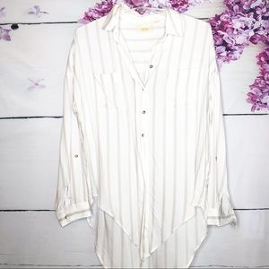 Maeve | Long Sleeve Tie Front Striped Blouse
